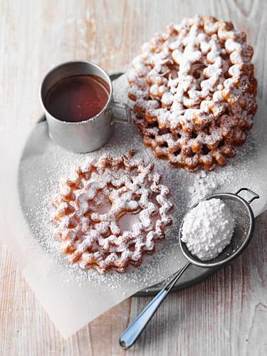 'Lippische Rosen' – deep-fried pastries served with hot chocolate, North-Rhine Westphalia, Germany