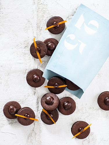 Almond chocolate cookies with candied orange peel