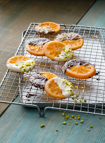 Candied oranges with chocolate icing