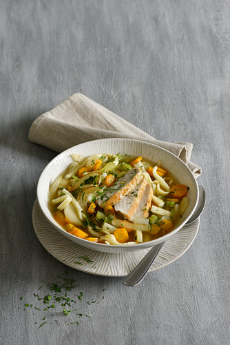 Root vegetable stew with spätzle and chicken breast fillets