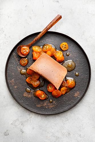 Nougat parfait with orange kumquat sauce