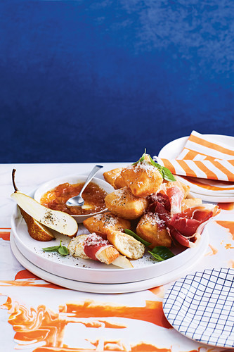 Gnocco fritto with prosciutto and fig jam (Italy)