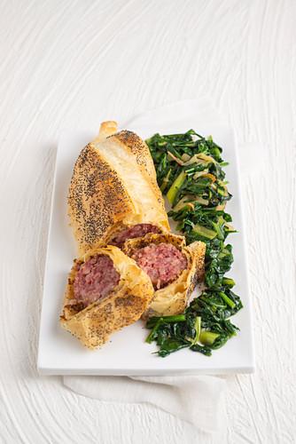 Cotechino in sfoglia alla senape (raw sausage with coarse mustard in pastry, Italy)