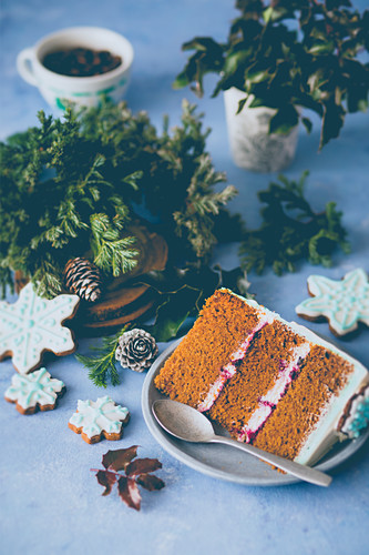 Slice of a gingerbread layer cake
