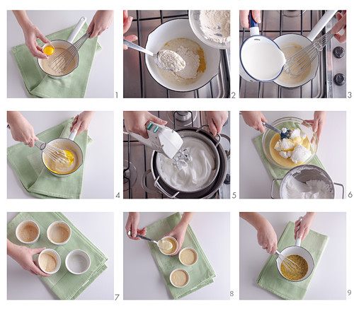 How to make cheese souffles with mustard and pistachio sauce