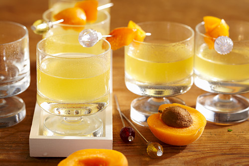 Apricot and orange liqueur with fresh fruit skewers