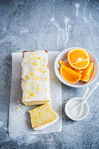 Orange plumcake with orange and lemon icing