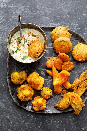 Indian vegetable pakoras with raita