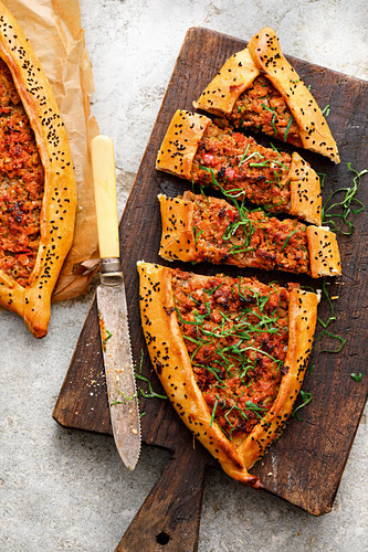 Turkish pide with lamb and black cumin