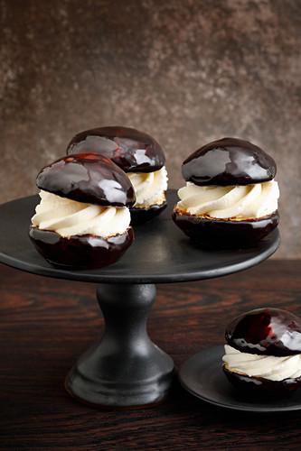 Chocolate and cream profiteroles