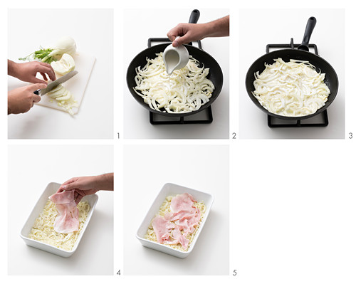 How to make fennel gratin with Fontina cheese and cooked ham