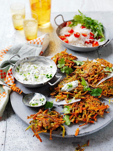 Vegetable Pakora with Rice Salad