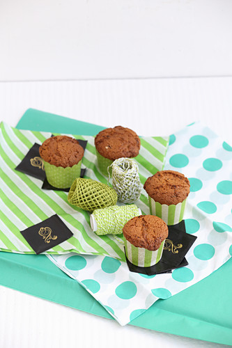 Chocolate mint cakes in paper cups