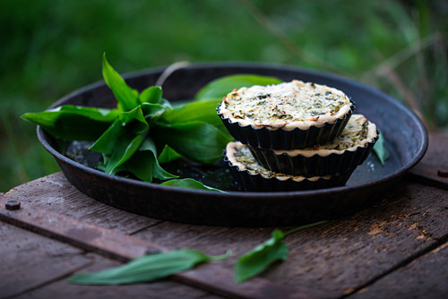 Vegan courgette and wild garlic quiches