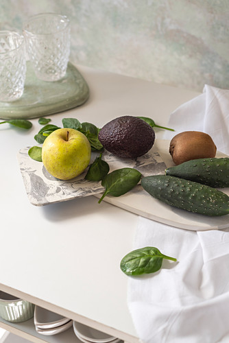 Fresh ingredients, recipe of Green smoothies