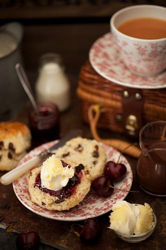 Chocolate Chip Scone, cherry jam and clotted cream