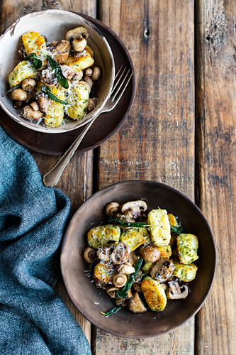 Fried ricotta gnocchi with mushrooms