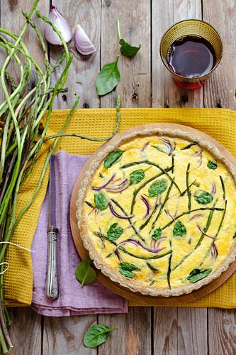 Wild asparagus quiche or tart
