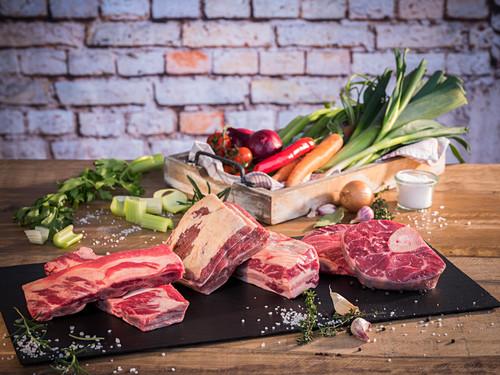 Beef (soup meat), vegetables, salt and pepper