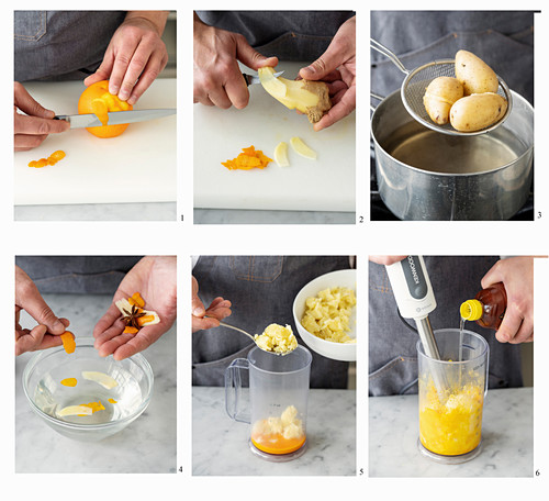 Potato mayonnaise being made