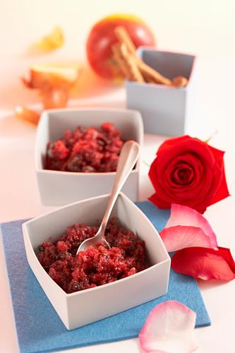 Rose apple chutney with fresh flowers and cinnamon