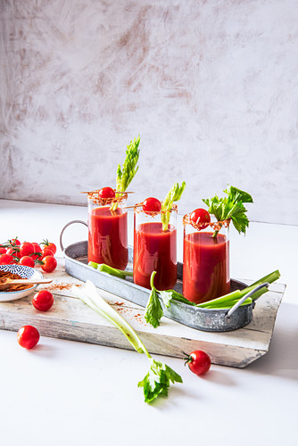 Tomato juice with celery, sea salt and cayenne pepper