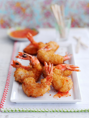 King prawns with coconut coating and chilli sauce