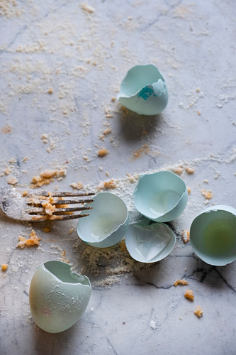 Empty Araucana egg shells and pasta on a fork against a marble background