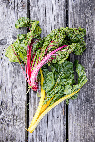 Chard on a wooden surface