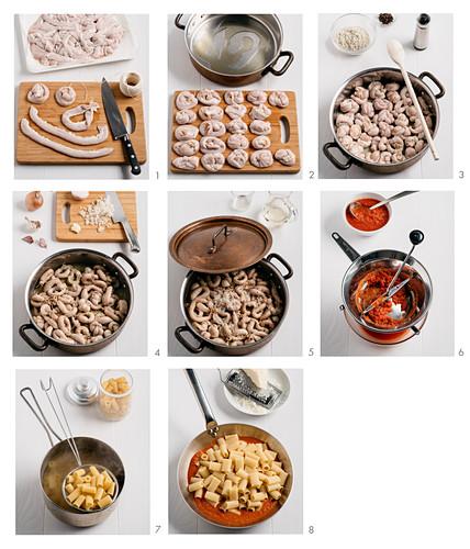 How to make Rigatoni con la Pajata (pasta with veal cream sauce, Italy)