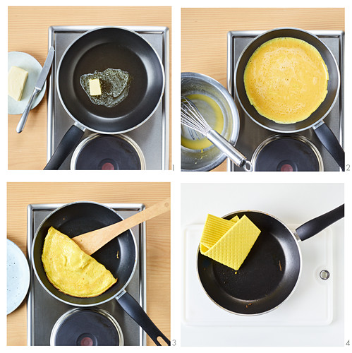 Pancakes being made in a non-stick pan