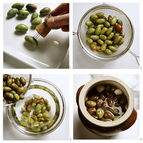 Pickling olives in brine