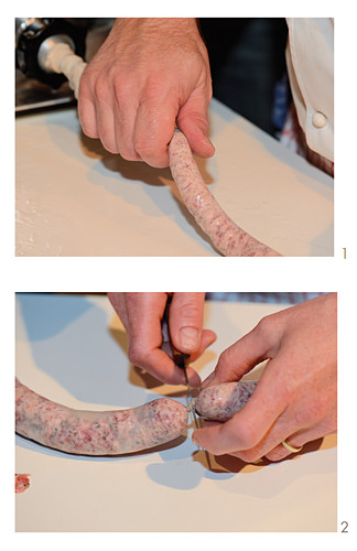 Black Forest sausages being made