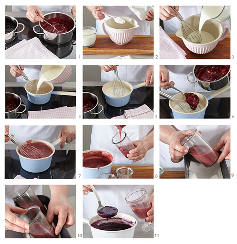 Bi-coloured puddings in glasses being made