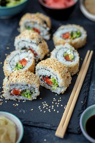 Home made uramaki with salmon