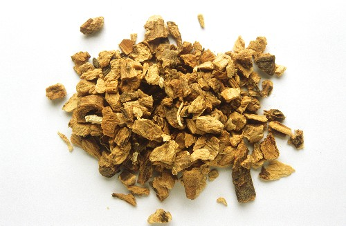 A heap of dried gentian root