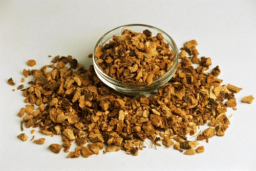 Ground dried gentian root, loose and in bowl