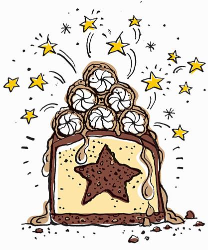 Lebkuchen-Käsekuchen mit Schokolade und Karamell (Illustration)