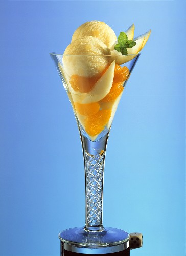 Ice cream sundae: pear ice cream, mandarin & pear segments