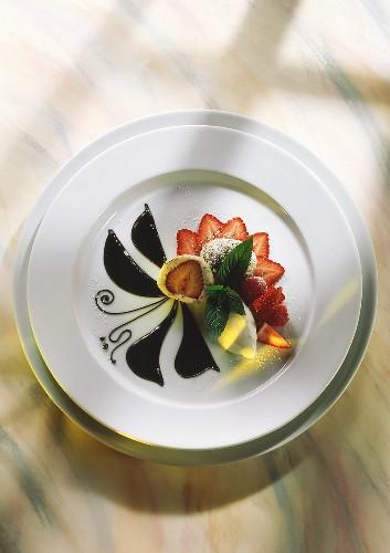 Quark poppy seed dumplings with berries & quark ice cream