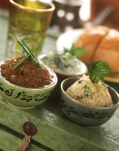 Couscous salad, tabbouleh style, with Arabic sauces