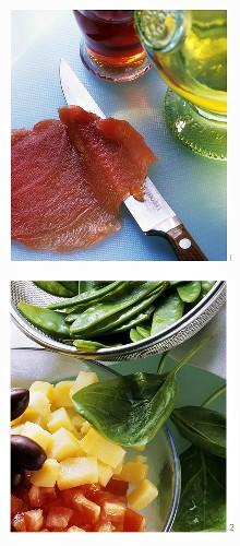 Preparing salad with tuna fillet