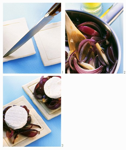 Preparing goat's cheese in puff pastry on balsamic onions