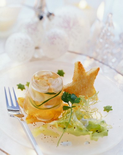 Sea devil in aspic with salad and toast star