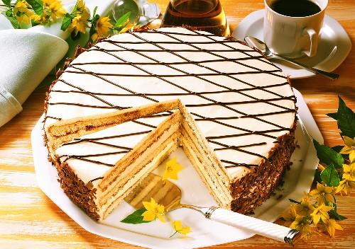 Irish coffee gateau on cake plate