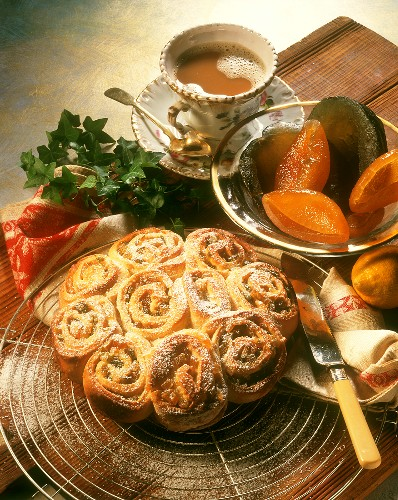 Coiled bun round in yeast dough with candied orange & lemon peel