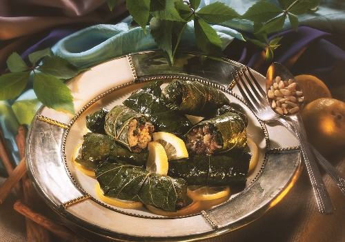 Vine leaves stuffed with rice, sultanas & pine nuts