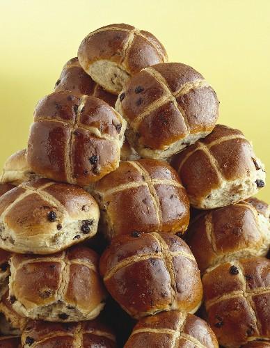 A tower of hot cross buns