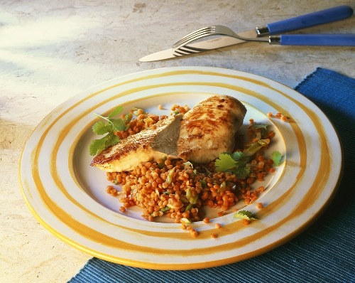 Chicken breast fillet with red lentils
