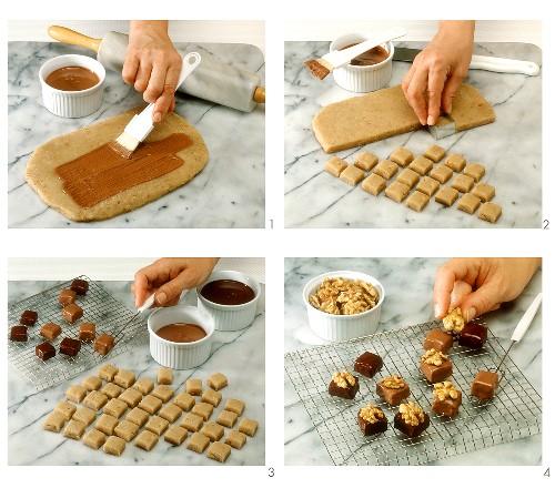 Making chocolates (walnut and marzipan chocolates)